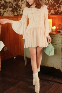 Flare-Sleeve-Lace-Detailed-Chiffon-Dress
