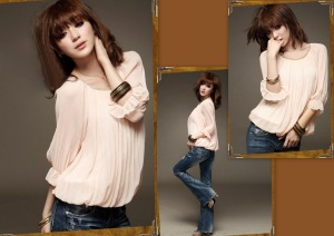LC0016TOP Pleated Cuff Sleeves Blouse (Pink)