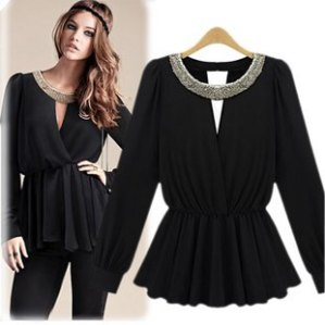 Vintage-Black-Blouse-Sequined-Rivet-Sexy-Blouses-Peplum-Long-sleeve-Ruffles-Tee-Chiffon-Bling-Collar-Women